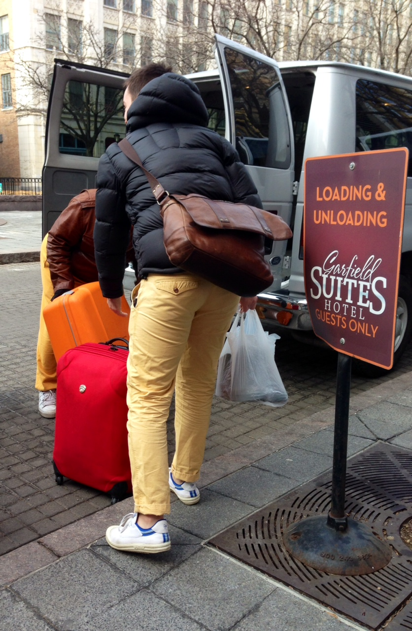 Some like their luggage in bright colours - and that seems to extend to trousers...