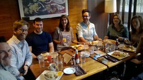Obligatory photo of members of Stile eating